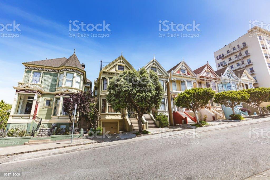 Alamo Square The Painted Ladies in San Francisco California USA stock photo