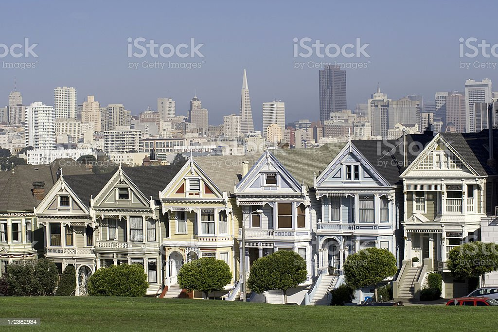 Alamo square with San Francisco skyline royalty-free stock photo