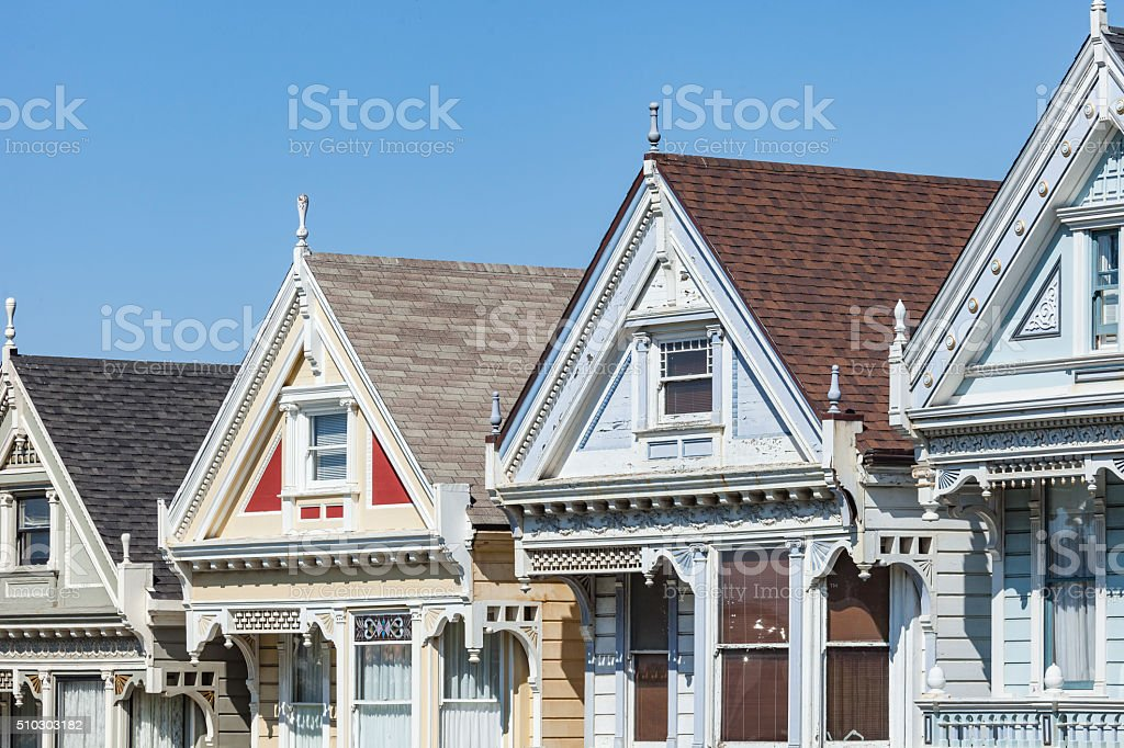 Alamos Square - The Painted Ladies  in San Francisco (USA) stock photo