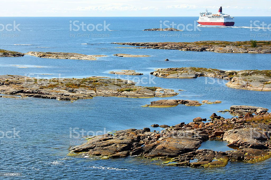 Aland archipelago with cruise ship stock photo