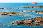 Aland archipelago with cruise ship