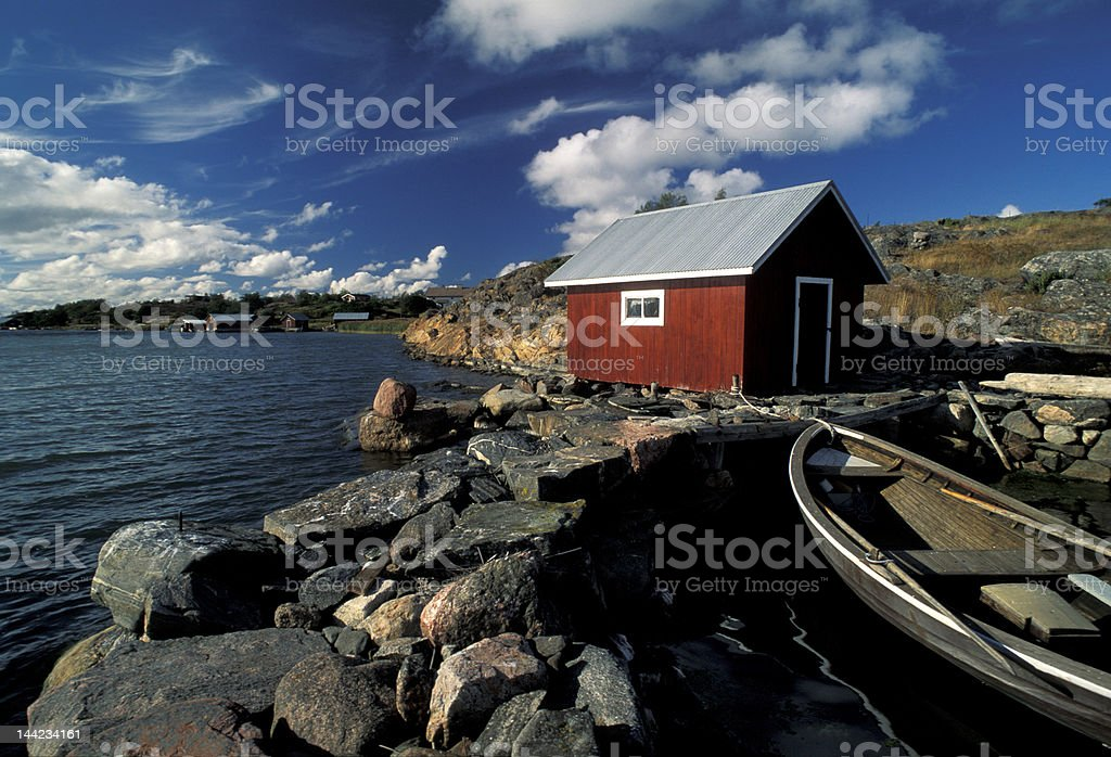 Aland red fisherman house royalty-free stock photo
