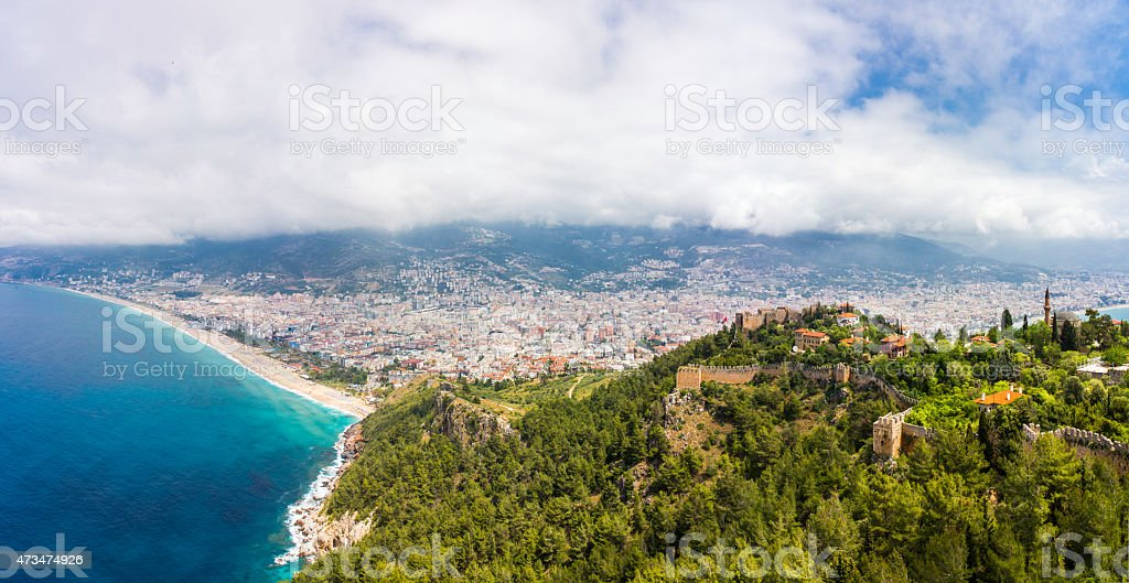 Alanya castle and Cleopatra beach stock photo