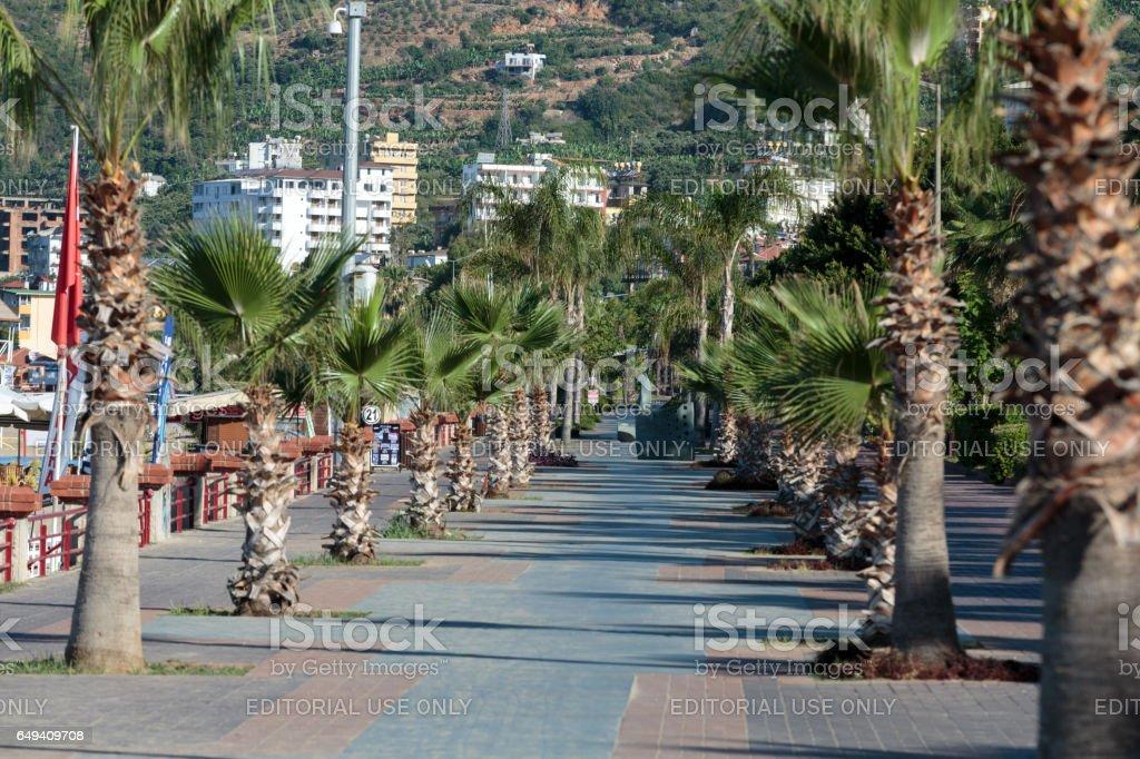 Alanya - Cleopatra beach. Long boardwalk and bike path stock photo