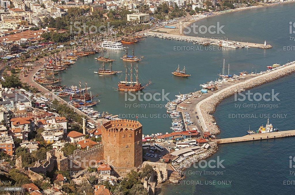 Alanya Harbor Tower Ship stock photo