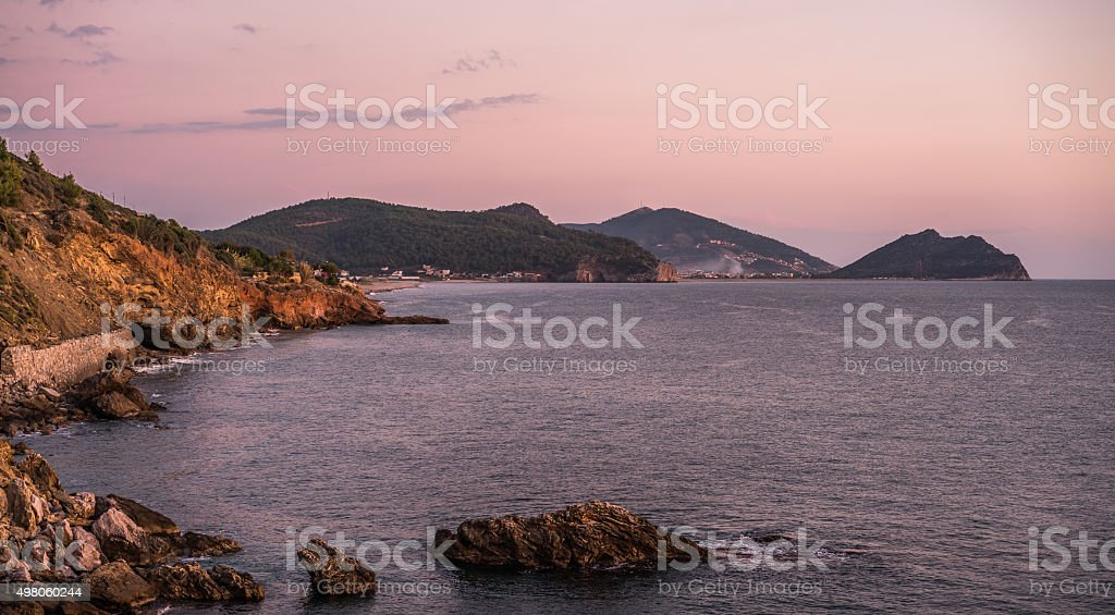 alanya landscape view sea and sky sunset stock photo