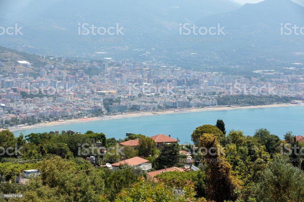 Alanya - the beach of Aladdin .  Alanya is one of most popular seaside resorts in Turkey stock photo