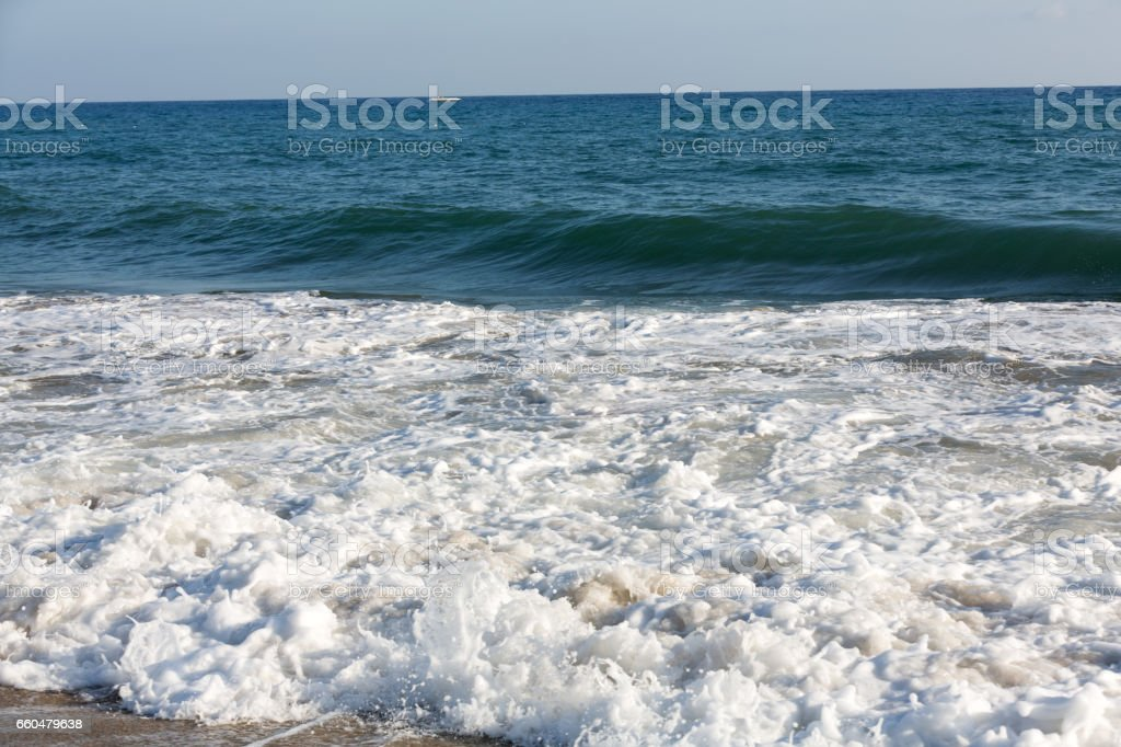 Alanya - the beach of Cleopatra .  Alanya is one of most popular seaside resorts in Turkey stock photo