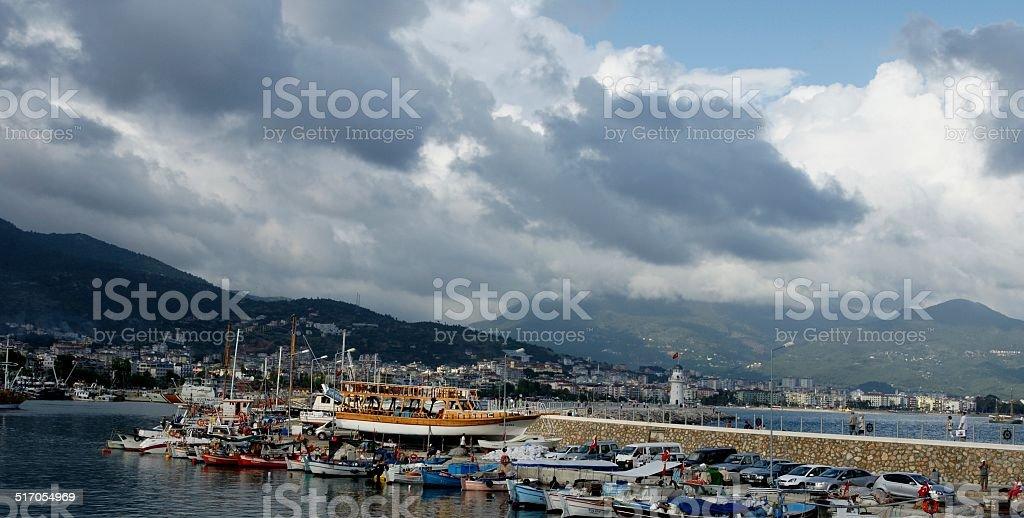 Alanya yacht marina cloudy day royalty-free stock photo