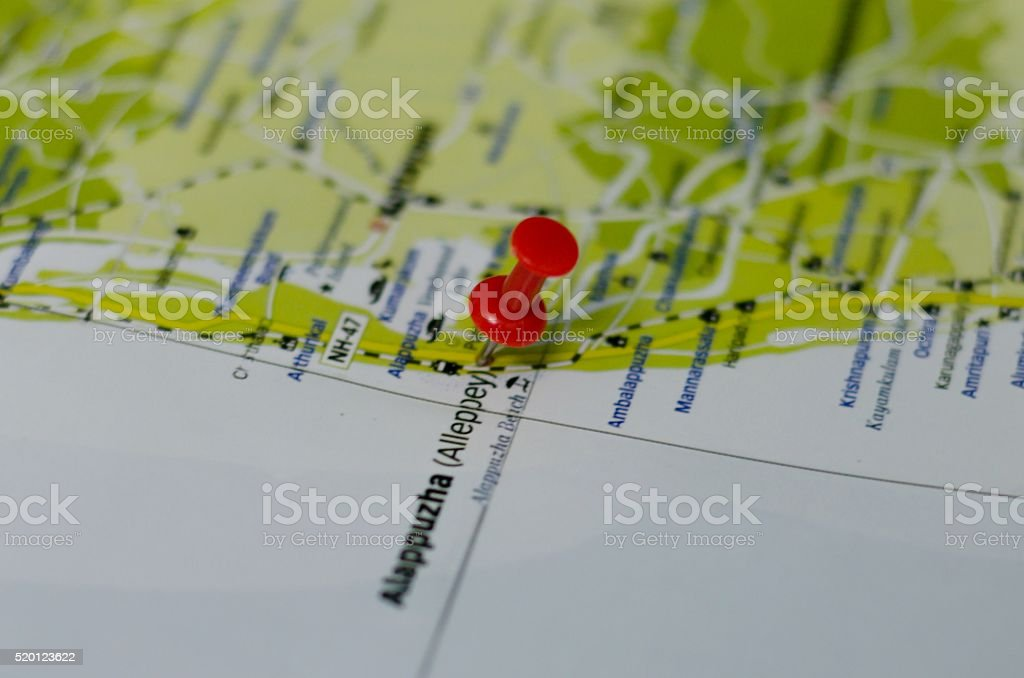 Alappuzha - Alleppey Marked on Map with Red Pushpin stock photo