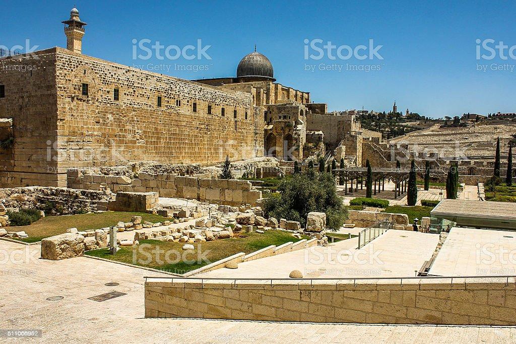 Al-Aqsa Mosque's Minaret and Dome stock photo