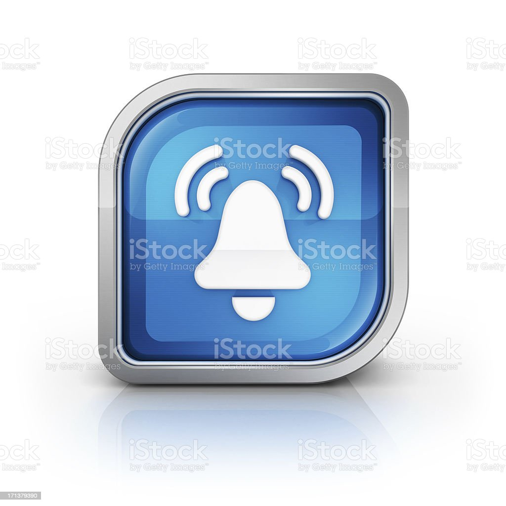 alarm bell and vibration glossy icon stock photo