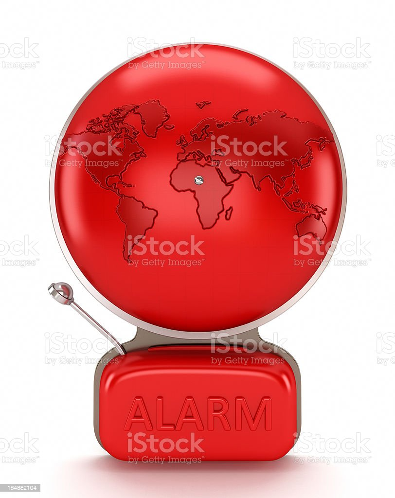 Alarm bell with earth map royalty-free stock photo