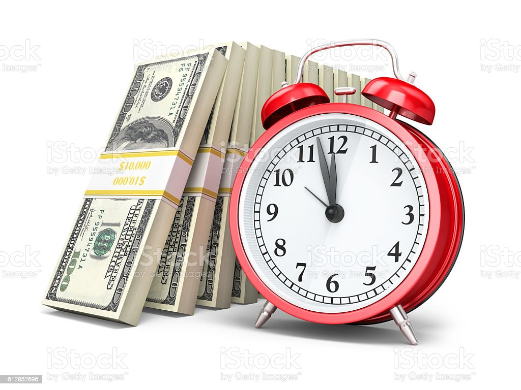 Alarm Clock and $100 banknotes stock photo