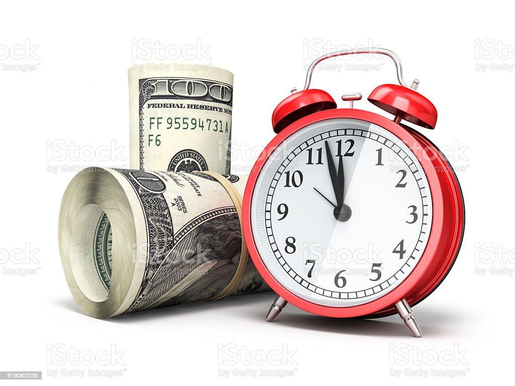Alarm Clock and $100 banknotes stock photo