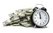 Alarm Clock and $100 banknotes