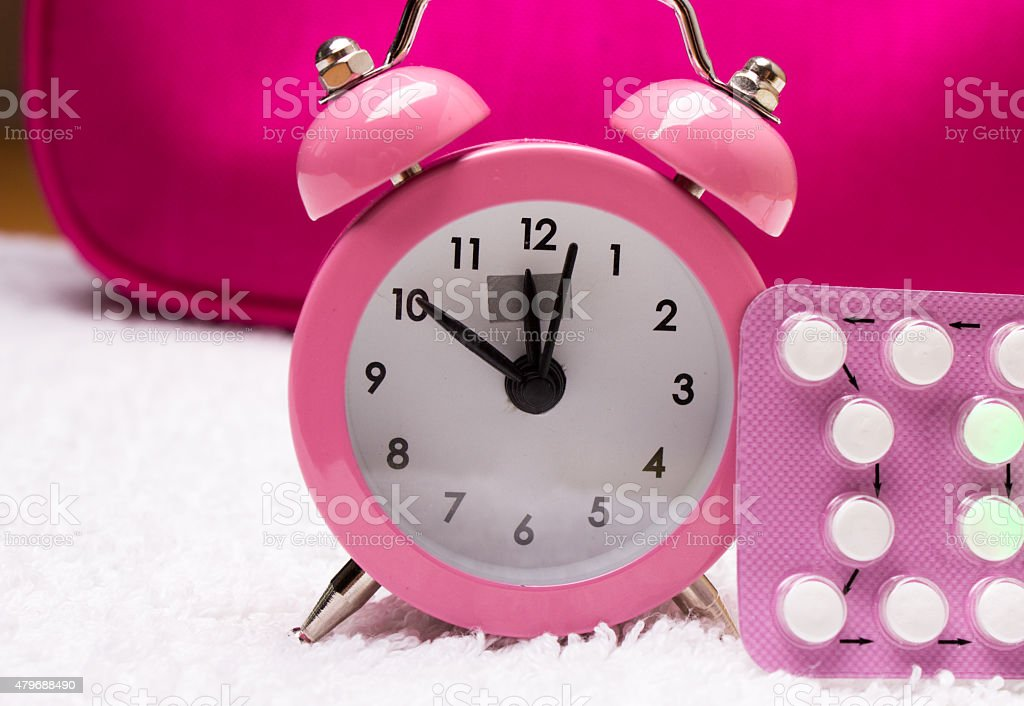 alarm clock and contraceptive pills stock photo