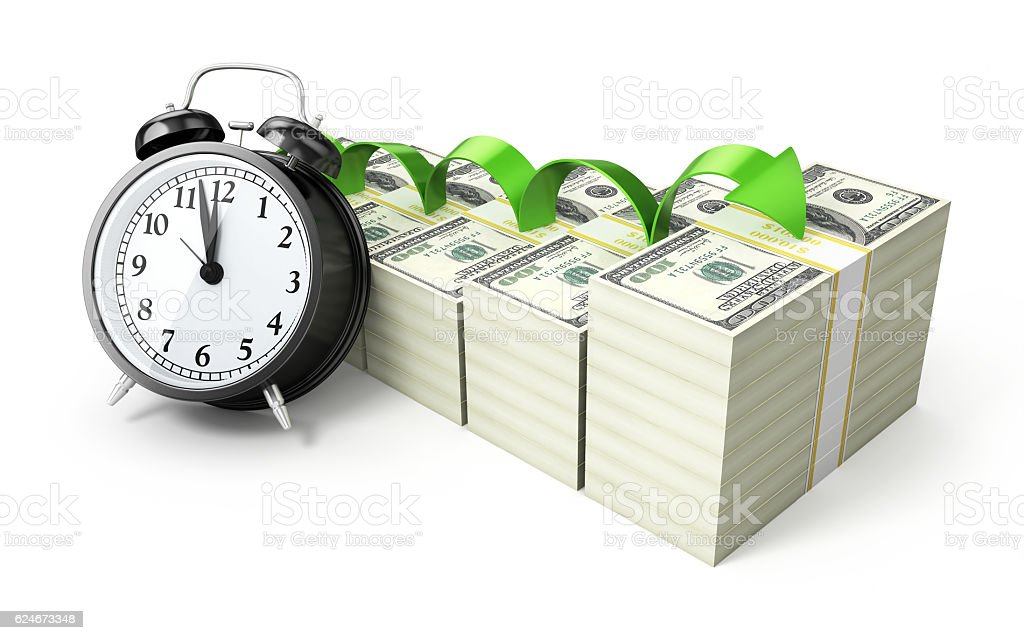 Alarm Clock and Growth $100 banknotes stock photo