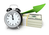 Alarm Clock and Growth $100 banknotes