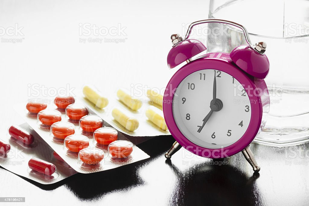 Alarm clock and medical pills stock photo