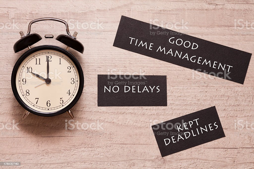 alarm clock and signs indicating to keep deadlines royalty-free stock photo