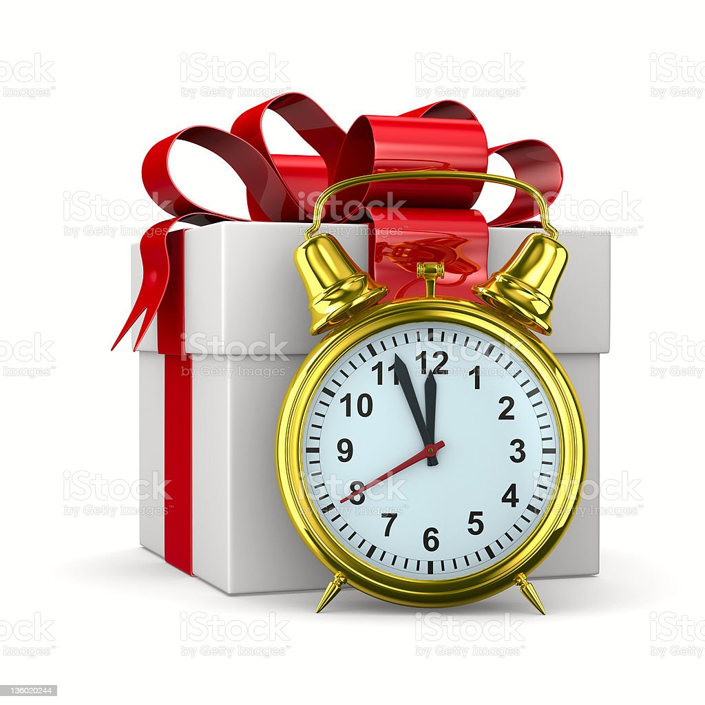 alarm clock and white gift box. Isolated 3D image royalty-free stock photo