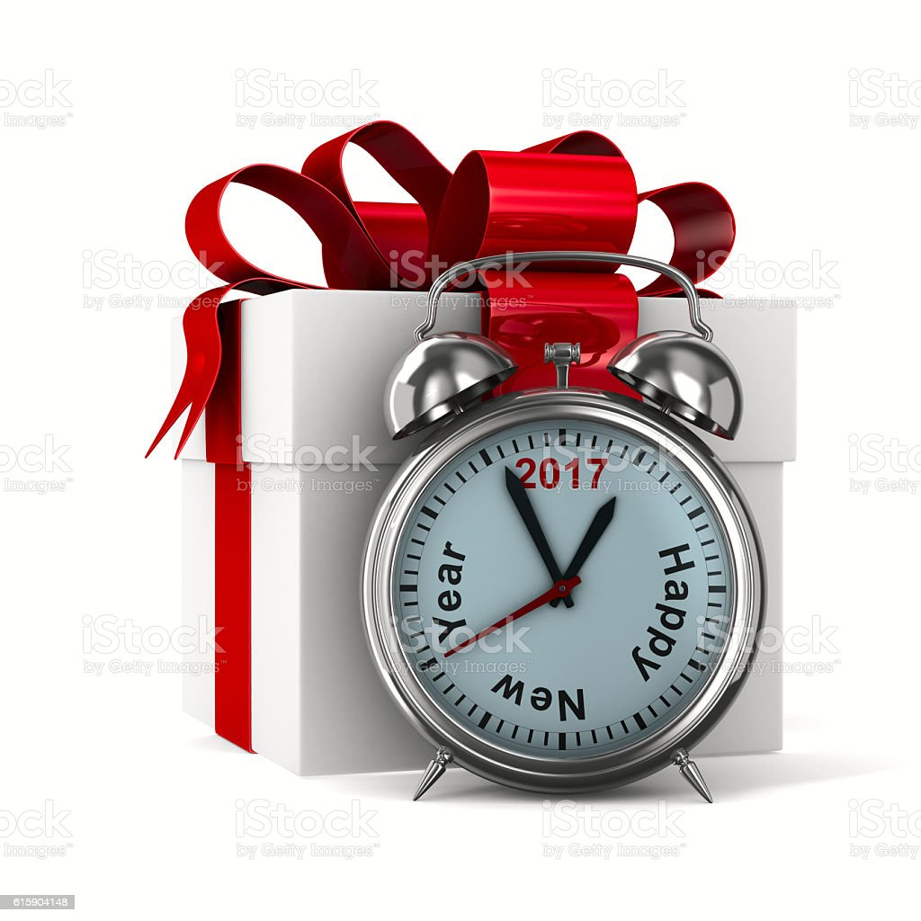 alarm clock and white gift box. Isolated 3D image stock photo