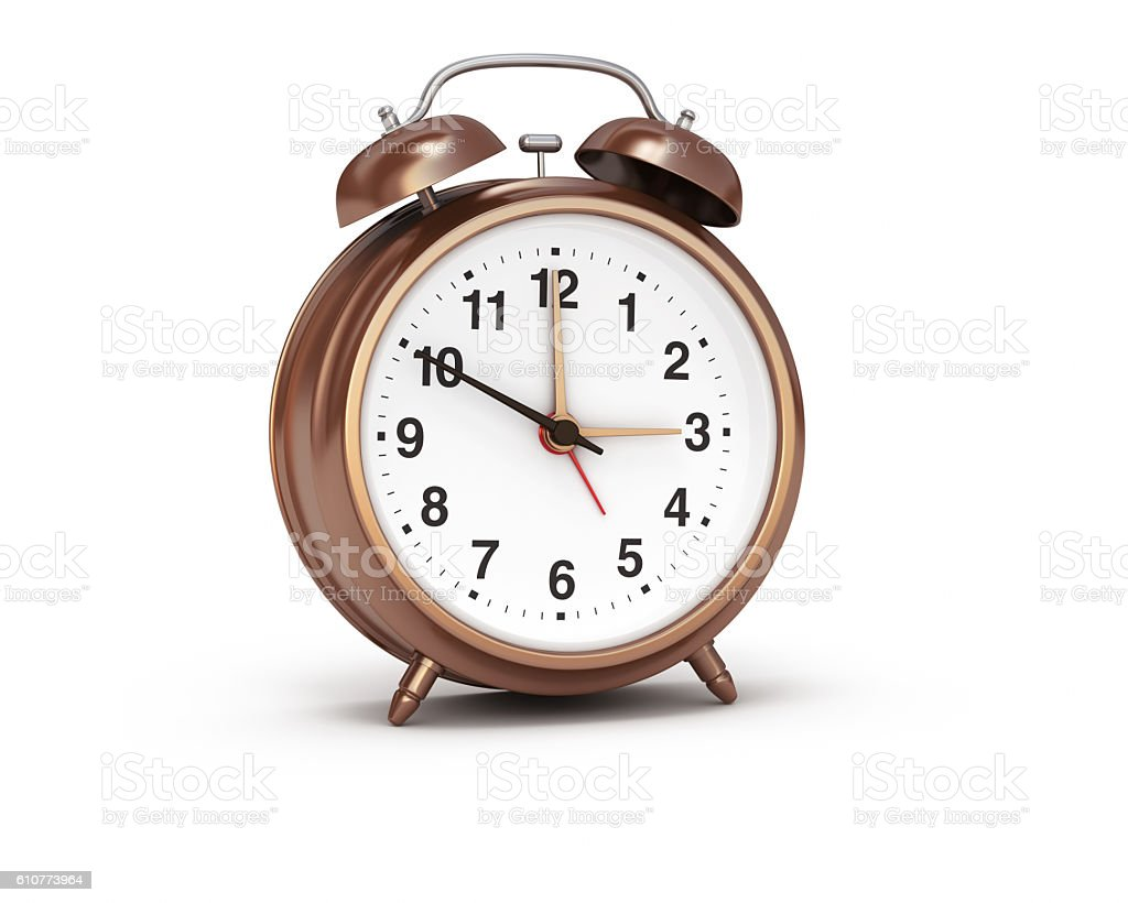 Alarm Clock Bronze Isolated Background stock photo