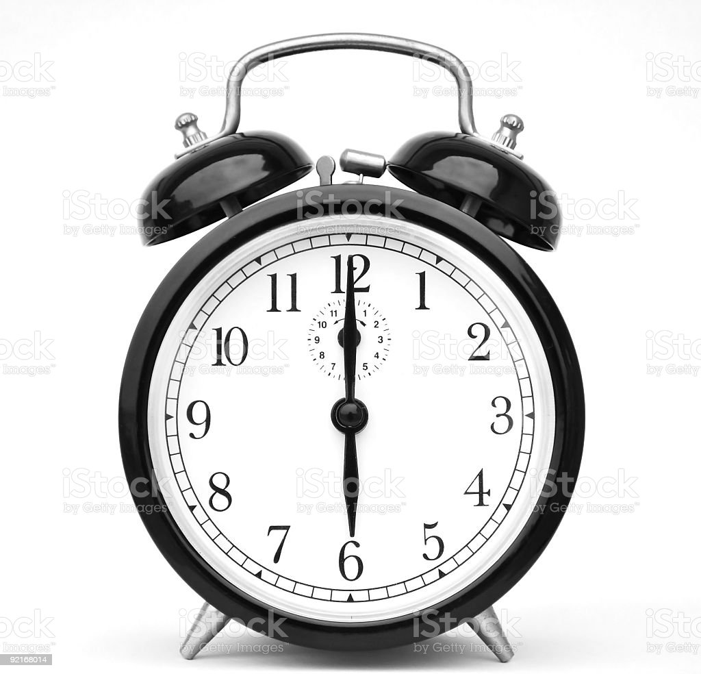 Alarm clock isolated on white stock photo