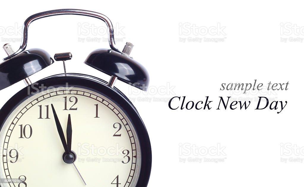 alarm clock isolated white background stock photo