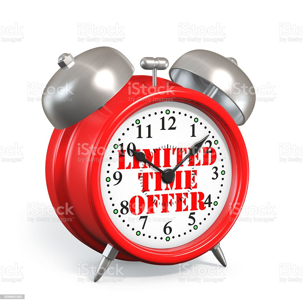 Alarm Clock Limited time offer Concept stock photo