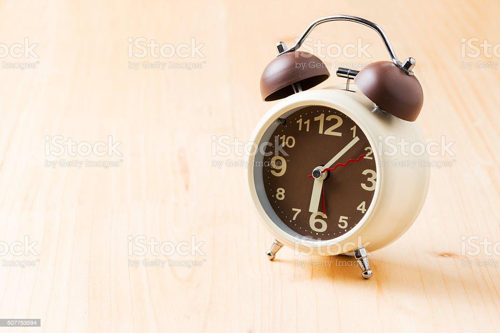 alarm clock on 6 am. stock photo