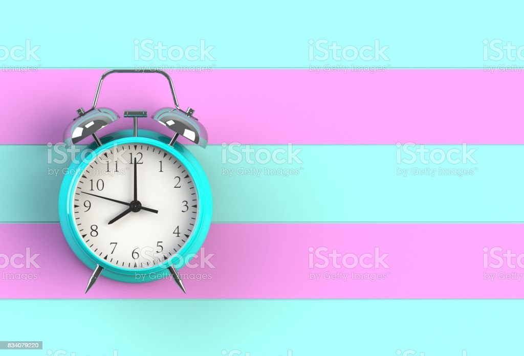 Alarm clock on blue and pink wooden board, 3D rendering stock photo
