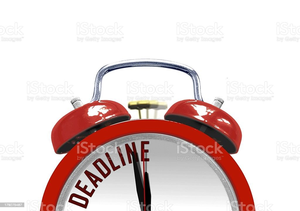 Alarm clock ringing with deadline word stock photo