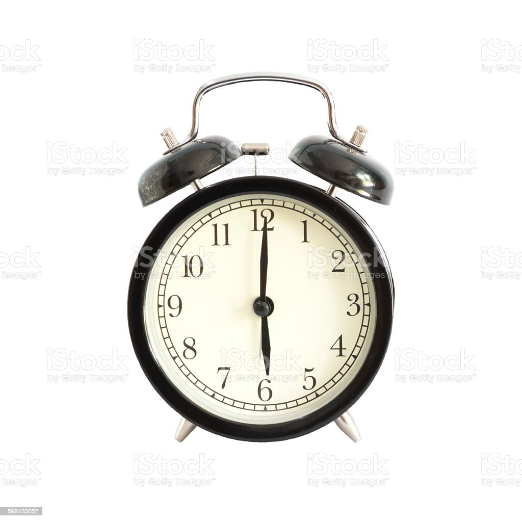 Alarm clock setting at 6 AM or PM.  Abstract time. stock photo