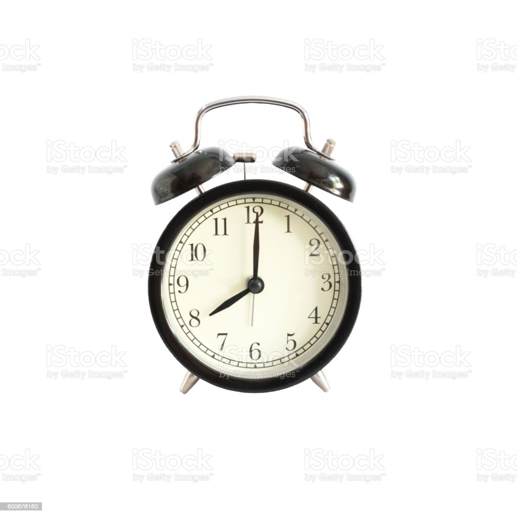 Alarm clock setting at 8 AM or PM.  Abstract time. stock photo