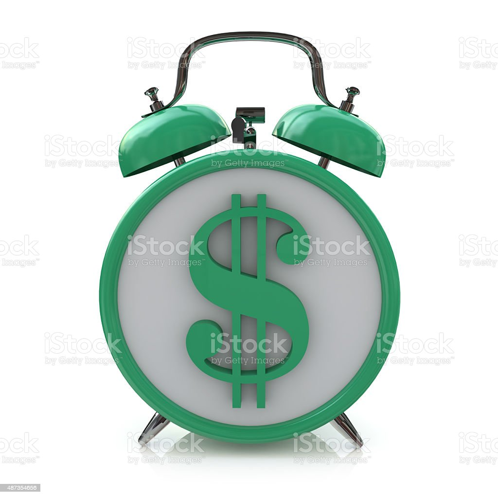 alarm clock with dollar symbol on clockface. Time is money stock photo
