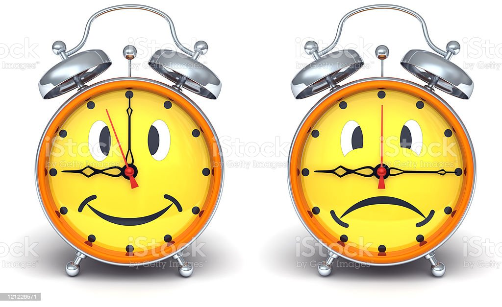 Alarm clocks with emotion on a dial. royalty-free stock photo