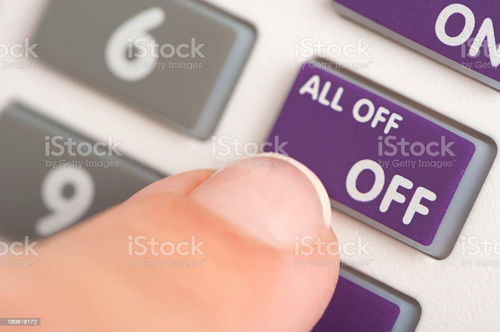 Alarm keypad and finger close up stock photo