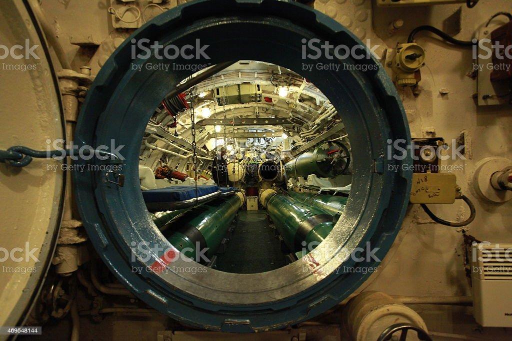 alarm on aboard the submarine stock photo