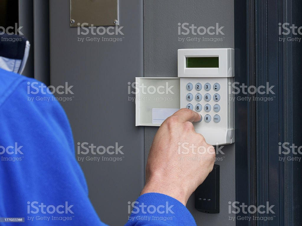 alarmsystem being activated stock photo