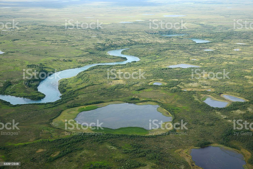 alaska aerial view stock photo
