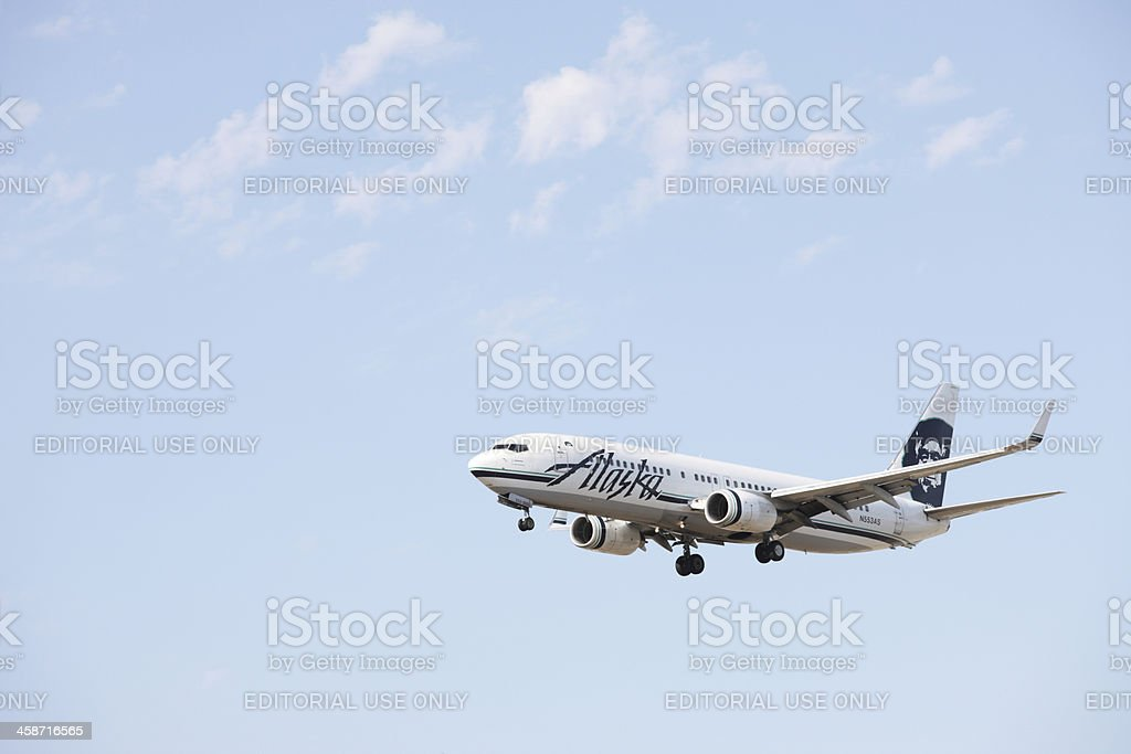 Alaska Airlines Jet Landing LAX stock photo