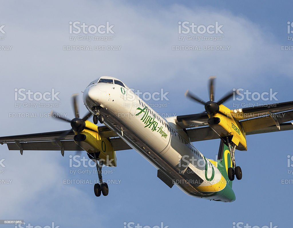 Alaska Airlines Oregon Ducks. stock photo