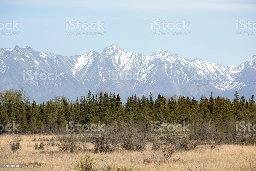 Alaska and Nature, Snowcapped Alaskan Mountain Ranges with Natural Beauty stock photo