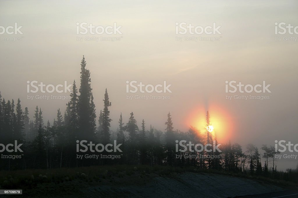 alaska fire smoke stock photo