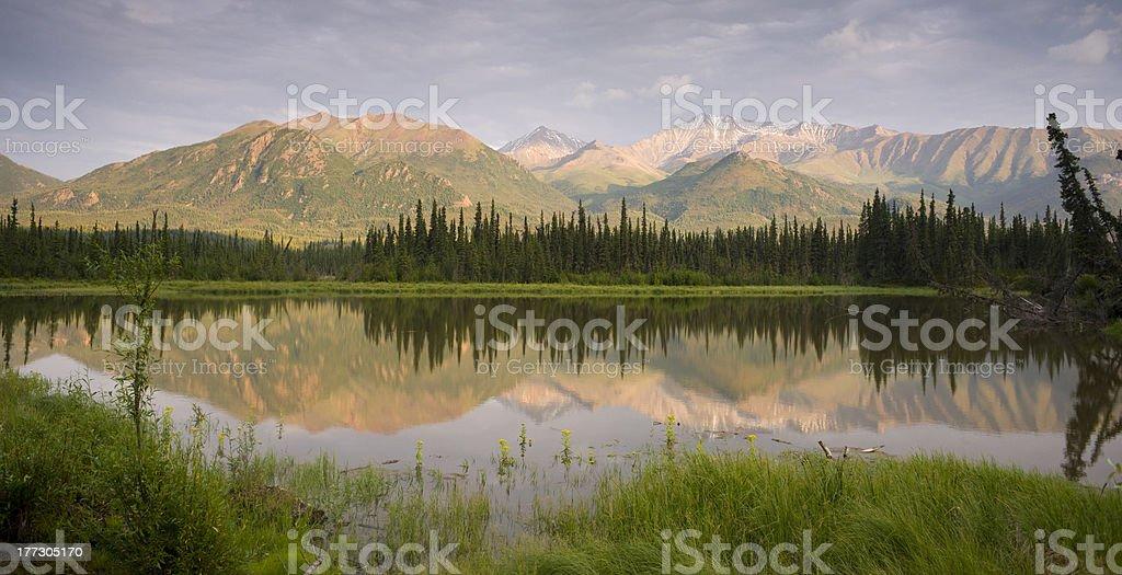 Alaska Glenn Highway Route 1 Mountain Lake Marsh Landscape stock photo