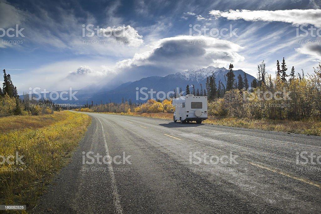 Alaska Highway near Destruction Bay royalty-free stock photo