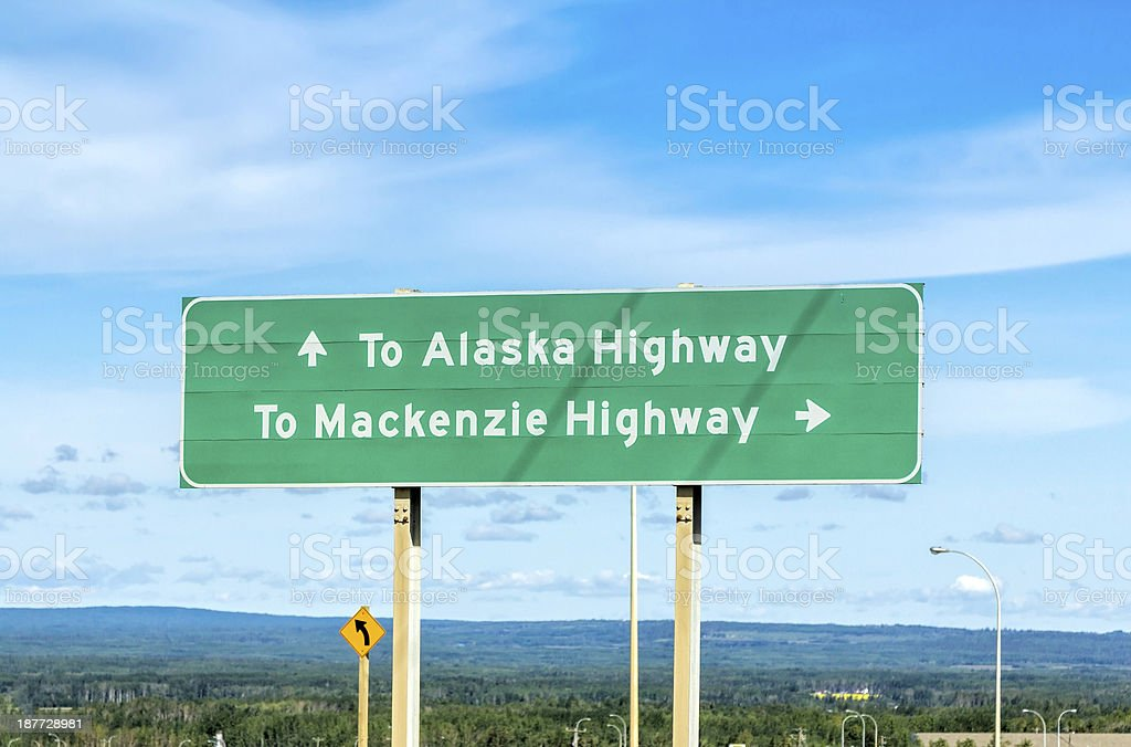Alaska highway sign royalty-free stock photo