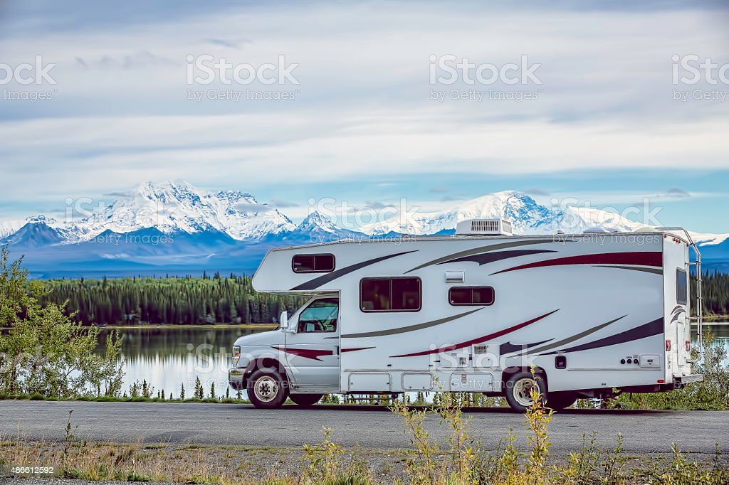 RV Alaska Lake stock photo